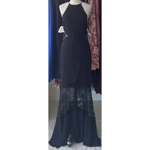 New Fame and Partners Black Lace Halter Maxi Dress